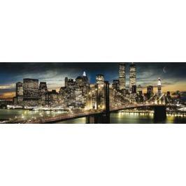 Nowy Jork Manhattan Nocą w Pełni Księżyca - plakat