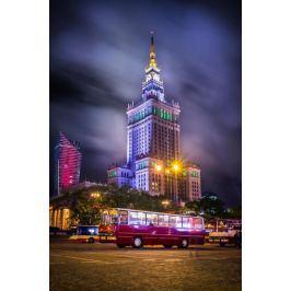 Warszawa Pałac Kultury z Ikarusem - plakat premium