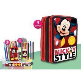 Piórnik potrójny z wyposażeniem Myszka Miki Mickey Mouse Disney red