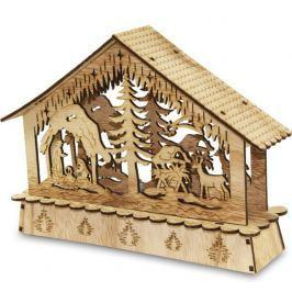 Drewniany Domek Z Dekoracją Led