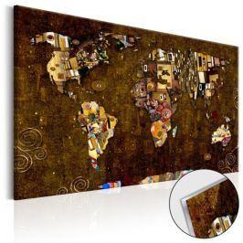 Obraz na szkle akrylowym - Mapa: Inspiracja Klimtem [Glass]