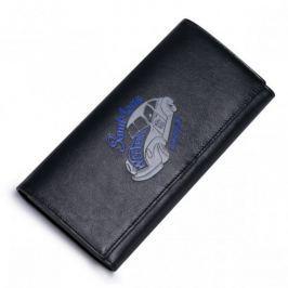 SAMMONS Długi skórzany portfel z motywem samochodu Czarny