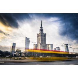 Warszawa Panorama Miasta W ruchu - plakat premium