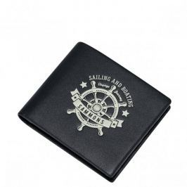 SAMMONS Krótki portfel z motywem morskim Czarny