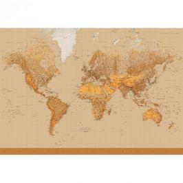 Fototapeta Mapa Świata 366x254cm brąz