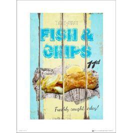 Fish & Chips Vintage - plakat premium