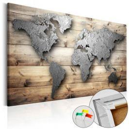 Obraz na korku - Srebrny świat [Mapa korkowa]