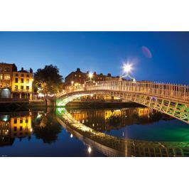 Dublin Halfpenny Bridge Nocą - plakat