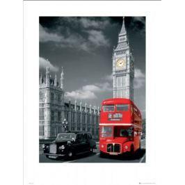 Londyn big ben czerwony autobus i taxi - plakat premium