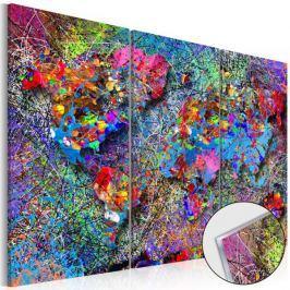 Obraz na szkle akrylowym - Mapa świata: Kolorowe kłębowisko [Glass]