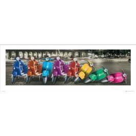 Kolorowe Vespy w Rzymie - plakat premium