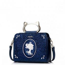 JUST STAR Finezyjna torebka z modnymi uchwytami Granatowa