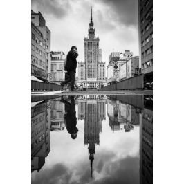 Warszawa Pałac Kultury i Nauki Zamyślony - plakat premium