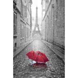 Czerwony Parasol z Wieża Eiffla w tle - plakat