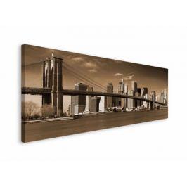 Nowy Jork Sepia Panorama Miasta - obraz na płótnie