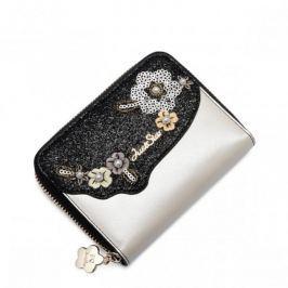 JUST STAR Krótki portfel w kwiaty Czarny