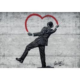 Fototapeta Banksy Serce mural flizelinowa