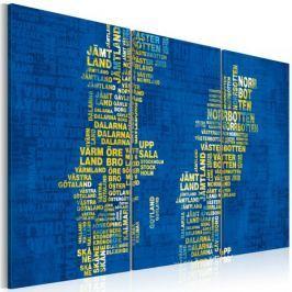 Obraz - Mapa Szwecji (niebieskie tło) - tryptyk