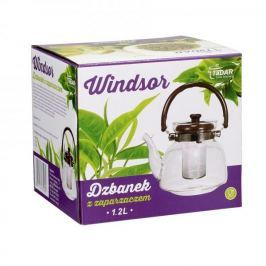 Dzbanek do herbaty szklany z zaparzaczem WINDSOR BRĄZOWY 1,2 l