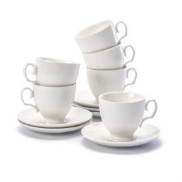 Filiżanki do kawy i herbaty porcelanowe ze spodkami MARIAPAULA ECRU 200 ml 6 szt.