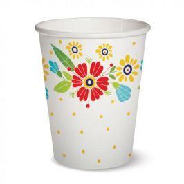 Kubki jednorazowe papierowe PAW FLOWERS BIAŁE 300 ml 10 szt.