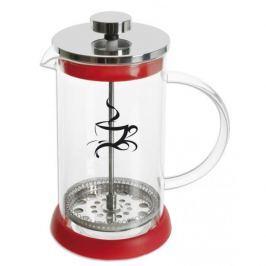 French press / Zaparzacz do kawy tłokowy szklany KONVICE CZERWONY 0,4 l