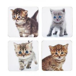 Podkładki pod kubek korkowe KITCHEN CRAFT CATS BIAŁE 4 szt.