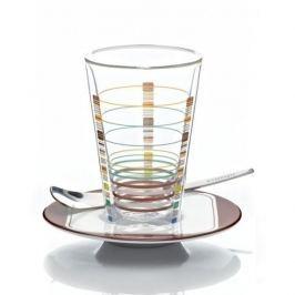 Szklanka termiczna do latte z podwójną ścianką szklana ze spodkiem i łyżeczką RITZENHOFF BACIONE SHALEV 270 ml