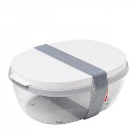 Lunch box plastikowy dwukomorowy z pojemnikiem na sos MEPAL SALAD BIAŁY 1,9 l