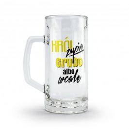 Kufel do piwa szklany KRÓL ŻYCIA GRUBO ALBO WCALE 500 ml