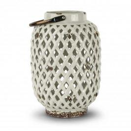 Lampion ozdobny ceramiczny DUO DIAMOND BIAŁY 28,5 cm