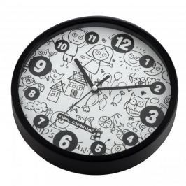Zegar ścienny plastikowy FLORINA KIDS CZARNY 20 cm