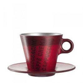 Filiżanka do kawy i herbaty szklana ze spodkiem LEONARDO OCH MAGICO RED CZERWONA 250 ml