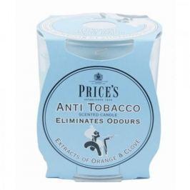 Świeca woskowa w szkle neutralizująca zapachy PRICE'S CANDLES ANTI TOBOCCO NIEBIESKA