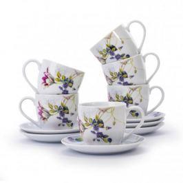Filiżanki do kawy i herbaty ceramiczne ze spodkami FLORINA LUNA BIAŁE 250 ml 6 szt.
