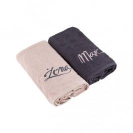 Komplet ręczników bawełnianych MISS LUCY MĄŻ I ŻONA GRANATOWY 140 x 70 cm 2 szt.
