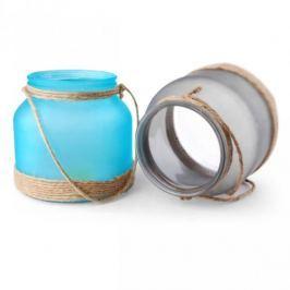 Lampion ozdobny szklany MONDEX NESS SZARY 15 cm