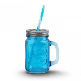 Słoik do koktajli i smoothie szklany REFRESHING ICE COLD DRINK NIEBIESKI 0,5 l