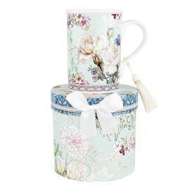 Kubek porcelanowy ASHDENE WHITE ROSE NIEBIESKI 300 ml