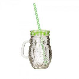 Słoik do koktajli i smoothie szklany DRINK JAR SOWA ZIELONY 0,45 l