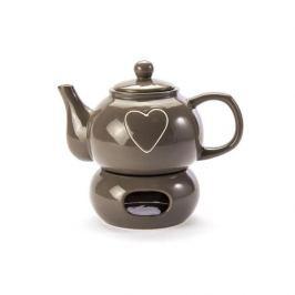 Dzbanek do herbaty i kawy kamionkowy z podgrzewaczem AMATO LOVEL TAUPE BRĄZOWY 1 l