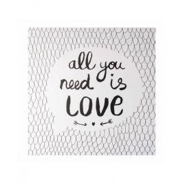 Obraz na płótnie MONDEX ALL YOU NEED IS LOVE BIAŁY  35 x 35 cm