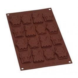 Forma do 16 czekoladek silikonowa SILIKOMART SAFARI CHOCO TAGS BRĄZOWA