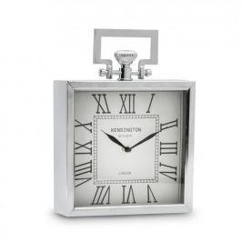 Zegarek stojący metalowy DUO KWADRAT MINI SREBRNY