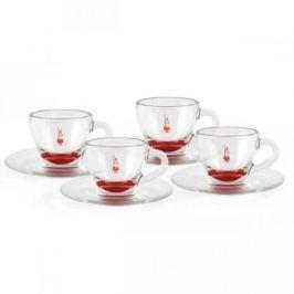 Filiżanki do espresso szklane ze spodkami BIALETTI CLASSIC RED 50 ml 4 szt.