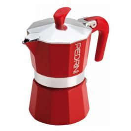 Kawiarka aluminiowa ciśnieniowa PEDRINI AROMA COLOR CZERWONA - kafetiera na 6 filiżanek espresso