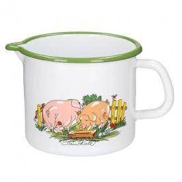 Kubek emaliowany / Garnek do gotowania mleka SSW MIX WZORÓW 1,1 l