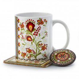 Kubek ceramiczny z podkładką i magnesem NANAELO PODHALAŃSKIE KWIATY Z PASKIEM KOLEKCJA PODHALAŃSKA 290 ml