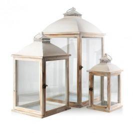 Lampiony ozdobne drewniane MONDEX VINTAGE BEŻOWE 3 szt.