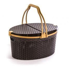 Koszyk piknikowy/ na zakupy plastikowy RATTAN BRĄZOWY 51 x 36 cm